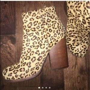 Shoes - Jeoffrey Campbell leopard heel boots size 6.5-